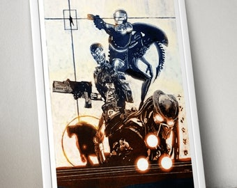 Terminator Alien Predator Robocop A4 Print, Arnie sci-fi horror movie art gift for him, dad boyfriend husband brother son unique 80s