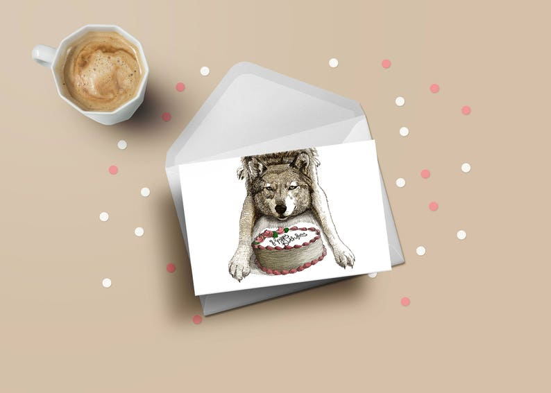 Wolf birthday greeting card woodland cute animal cake card image 0