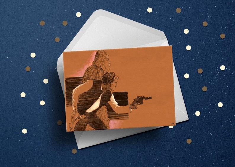 Star Wars Birthday Greeting Card Han Solo Chewbacca movie fan image 0