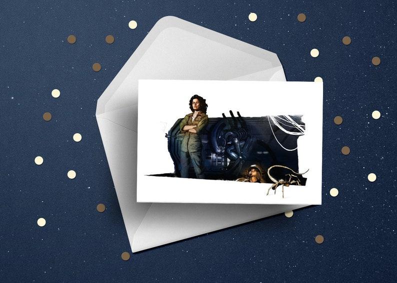 Aliens xenomorph Sigourney Weaver birthday greeting card 80s image 0