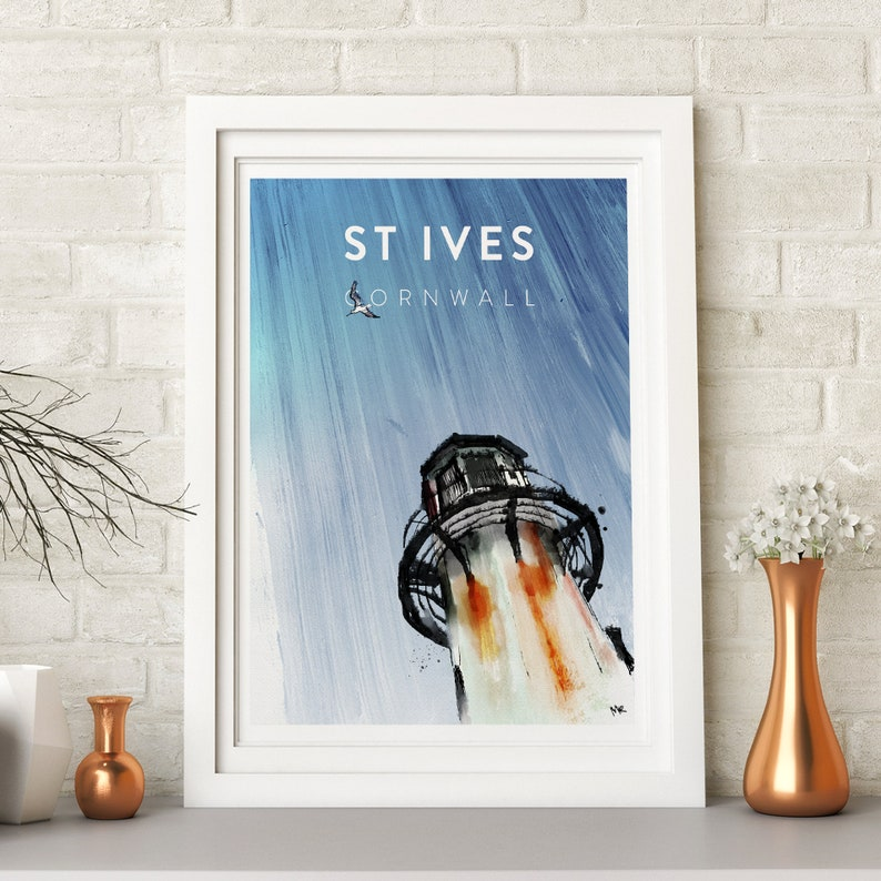 Cornwall St Ives beach drawing print harbour boat family image 0