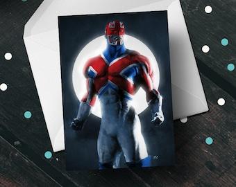 Captain Britain birthday greeting card, Marvel Comics unique art gift for him, her boyfriend girlfriend wife comic book movie fan