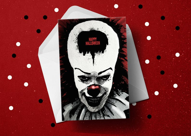 IT movie Pennywise Halloween Stephen King horror fan greeting image 1