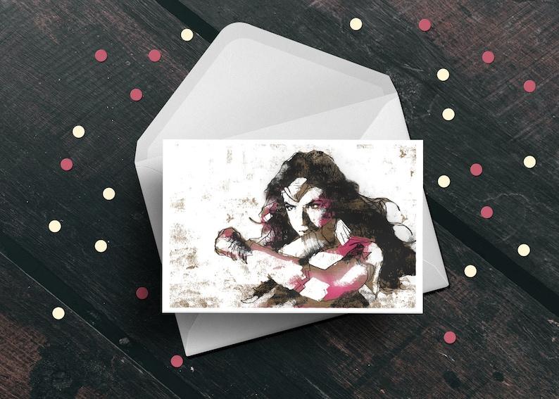 Wonder Woman Gal Gadot birthday greeting card superhero movie image 0