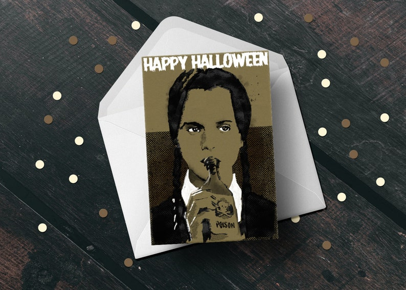 Wednesday Addams Family Halloween greeting card horror fan image 1