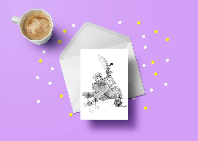 Fairytale woodland animals greeting card child birthday for image 0