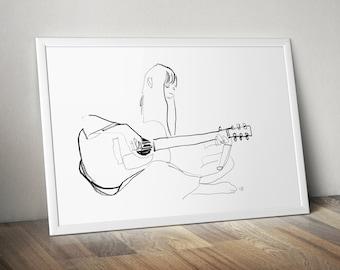 Joni Mitchell 70s retro music musician, singer songwriter wall decor art print drawing, gift for him her dad mum husband wife boyfriend A4