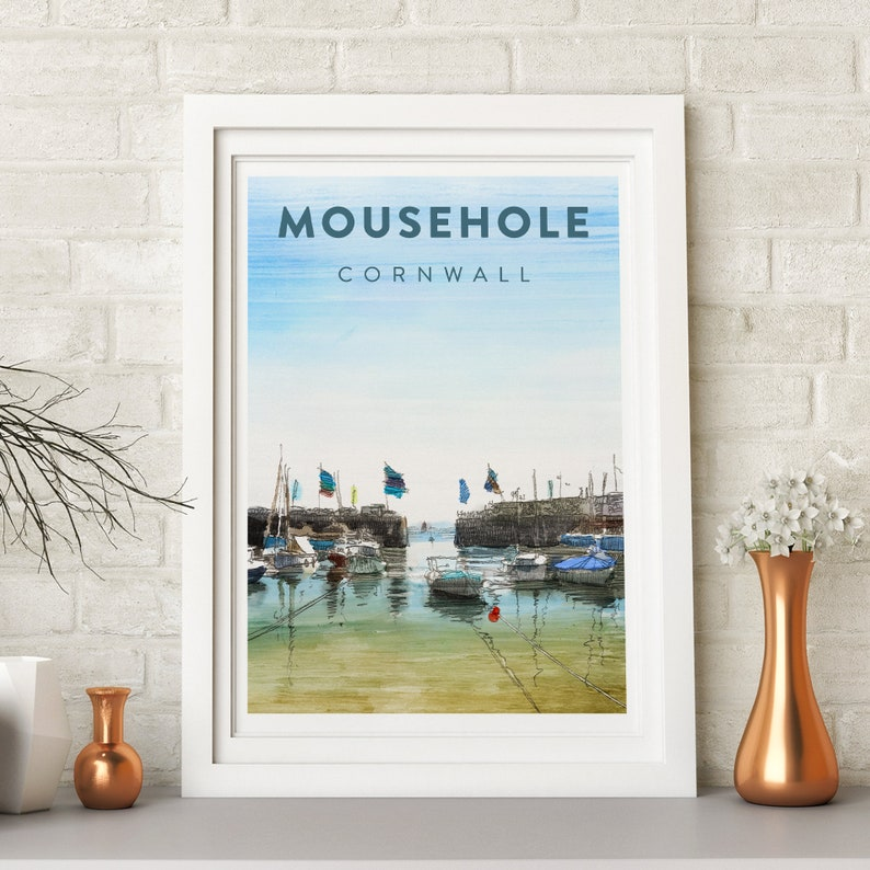 Cornwall Mousehole beach drawing print harbour boat family image 0