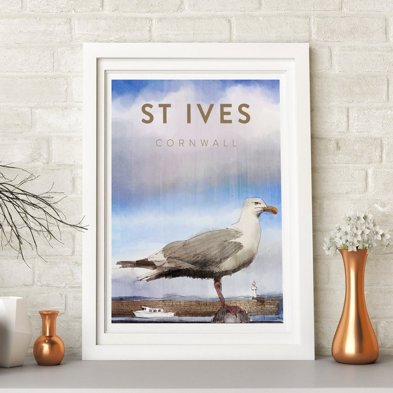 Cornwall St Ives beach seagull bird drawing print harbour image 0