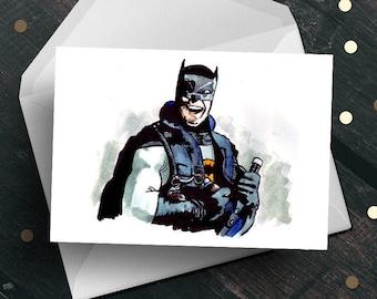 Commando Batman greeting card, Adam West Arnold Schwarzenegger, funny unique movie fan gift for him her dad boyfriend husband son daughter