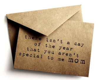 Rustic Mother's day card - Typwriter Mom's day Card - Kraft Mother's day card - Mother's day - Paper goods - brown