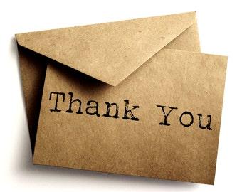 Rustic thank you card - Handmade - Kraft - Vintage - Wedding thank you - Paper goods - Vintage thank you note