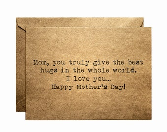 Mother's day card - Rustic blank card - Kraft Mother's day card - Mother's day - Paper goods - brown - Mom card - Mom - Mother - Cards