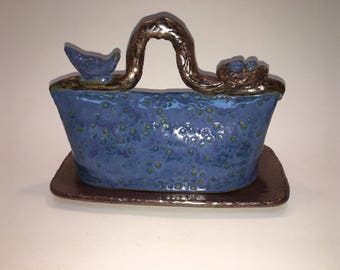 Handmade Blue Butter Dish Embellished With A Bird And Her Nest