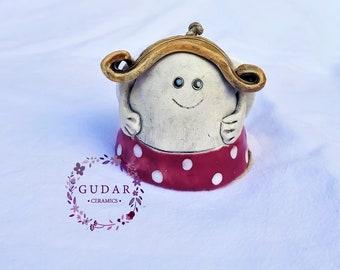 Ceramic Angel bell - Angel of happiness - Home Decor - Garden Decor - Wallhanging - Handmade Ceramics - Christmas gift - Pink Pleasure