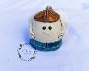 Ceramic Angel bell - Angel of happiness - Home Decor - Garden Decor - Wallhanging - Handmade Ceramics - Christmas gift - little boy