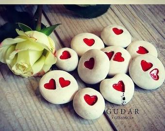 Ceramic Stones Handmade Unique Love Heart Personal words Message stones Ceramic custom stones