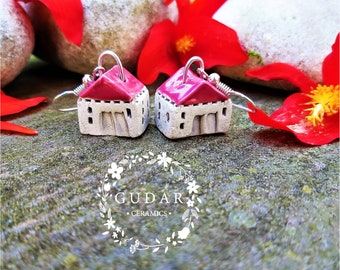 Unique Handmade Little Ceramic House Earrings, Small Rustic Cottage, Beautiful Miniatures, Wine Red