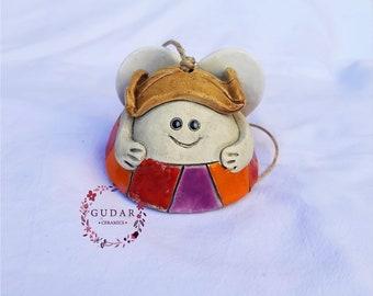 Ceramic Angel bell- Angel of happiness - Home Decor - Garden Decor- Wallhanging- Handmade Ceramics- Christmas gift - OOAK  - Rainbow Angel