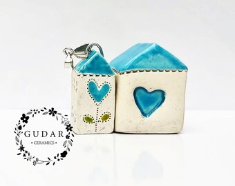 Mini Ceramic House Necklace, Unique, House with a heart flower, handmade ceramic, OOAK, Adorable Gift, handmade with lovely mini house