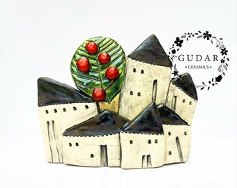 Tiny House Village of Miniature Ceramic Houses with an Apple Tree, Unique Housewarming Gift with a lot of life! OOAK