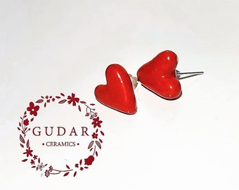 Unique Handmade Ceramic Heart Stud Earrings Red