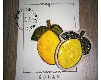 Porcelain Lemon Handmade Unique Brooch With Original Watercolour Painting