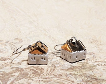 Little Ceramic Gold White House Earrings, Small Rustic Cottage, Gold roof houses, Miniatures