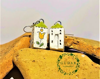 Little Ceramic House Earrings, Small Rustic Cottage, Green roof , with beautiful Flower