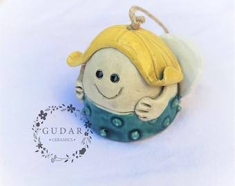 Ceramic Angel bell - Angel of happiness - Home Decor - Garden Decor - Wallhanging - Handmade Ceramics  - Christmas gift - OOAK