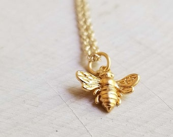 Bee Jewelry. 24K  Gold Plated Sterling Silver Bee Necklace.  Solid sterling silver with Gold Plate. Bee Charm. Chromafusion Jewelry.