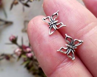 Sterling silver Butterfly earrings. Solid sterling silver. Butterfly studs.