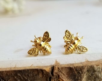 24K  Gold Plated Sterling Silver Bee earrings. Solid sterling silver with Gold Plate. Bee studs. Chromafusion Jewelry.