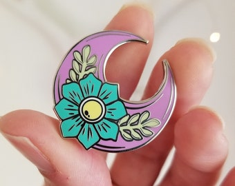 Enamel pin. PURPLE MOON with Teal flower. Signature Flower Moon. Chromafusion Jewelry.
