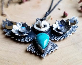 The Owl. Athena Owl Pendant. Natural Carico Lake Turquoise. Moonstone. Floral. Chromafusion Jewelry. The Spirit Animal Collection