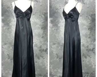 Black satin disco dress, empire waist, long maxi length gown, small