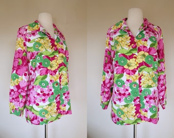 Pink floral blouse etsy 1970s pink floral blouse long sleeve polyester top xl us 12 mightylinksfo