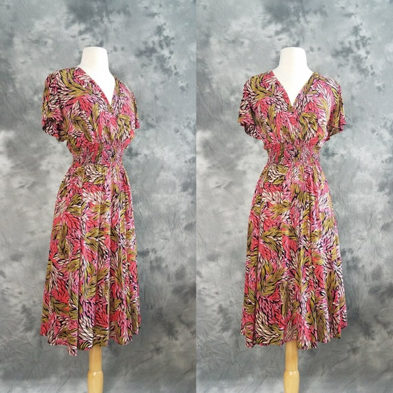 1990s leaf print dress rayon crepe summer dress Large  57bb4d4cc