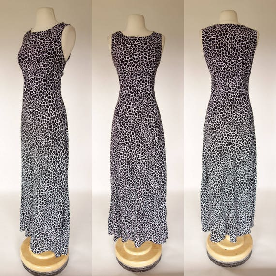 1990s rayon dress black and white all that jazz sleeveless  5155d4044