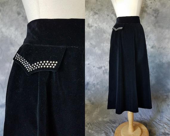 1950s black velvet skirt w/ rhinestone pocket deta
