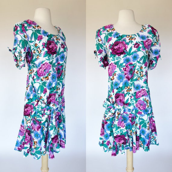 1990s floral print dress short sleeve rayon All that Jazz  073fa4d44