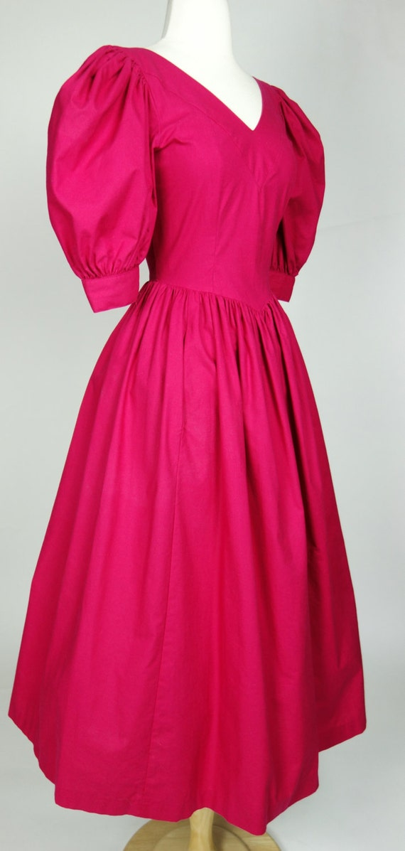 length dress poofy pink 1980s dress fit short Small puff and 6 flare Ashley cotton sleeve Laura tea OwRwH6