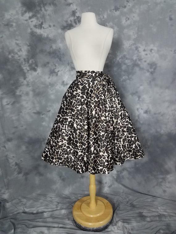 Leopard print A line wrap skirt, satin animal prin