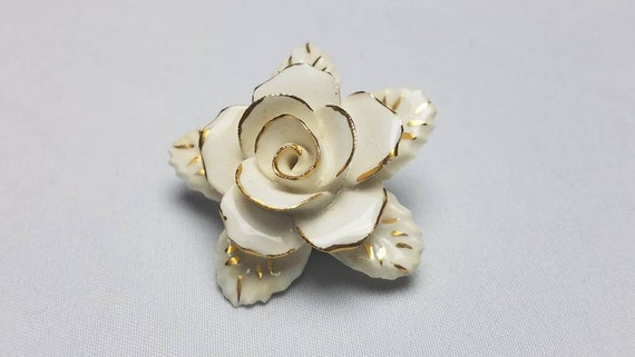 50s bone china rose brooch, handmade, gold accents