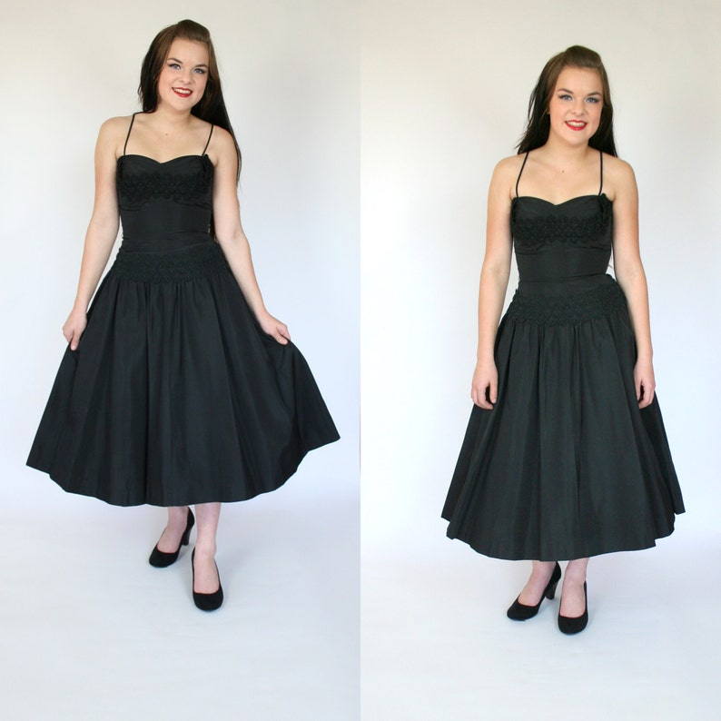 08ee5be520e 1950s black dress fit and flare taffeta formal new look w