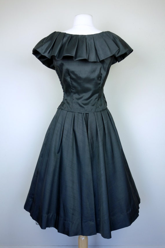 top matching Mexican w and ruffled skirt bow fitted full high fit circle flare waist black 1950s shirt sleeveless and style and skirt qA84cWaOyt