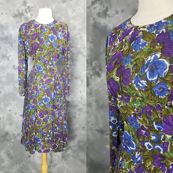 90s Fluorescent Floral Fit and Flare Dress