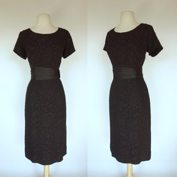 1950s rayon crepe dress short sleeve wiggle dress waist  61864eb54