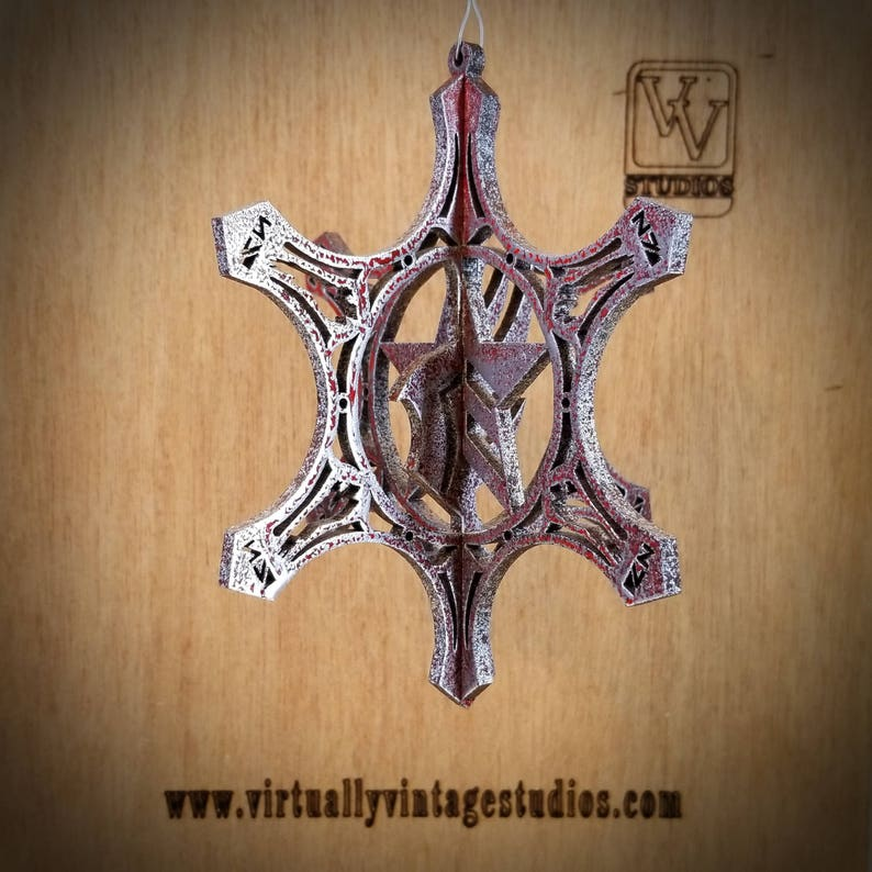 Red 3D Mass Effect Snowflake Ornament image 0