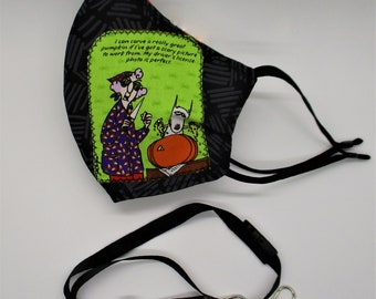 Crabby Maxine Reversible Cotton Face Mask with Adjustable Elastic Ear Loops - Reversible Mask - Party Mask - FREE Lanyard - RARE FIND!